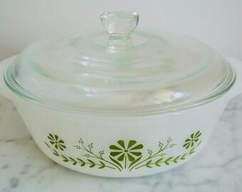 Vintage GLASBAKE Casserole Dish Green Daisy