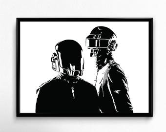 Daft Punk Art Print - Super Detailed Giclee Print of the Techo DJ Duo Daft Punk - Multiple Sizes and Colors