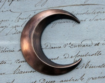 Vintage French Brass Stamping/Antique Style Faceted Crescent Moon/Night Goddess Luna Nyx Diana/French Findings
