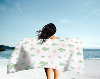 Cactus Beach Towel, Cactus Towel, Bath Towel, Hand Towel, Towel Set, Large Beach Towel, Swim Towel, Beach Gift, Cactus Bath Towel, Towel