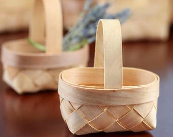Package of 24 Mini Eco Friendly Recycled Chip Wood Favor Baskets