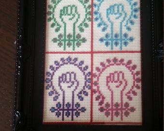 Feminist power completed cross stitch.