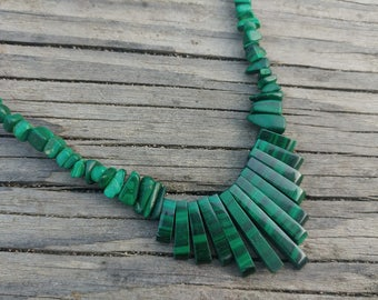 Vintage Malachite Bib Collar Necklace // 80's Choker Necklace