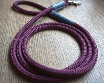 Maroon Rope and Leather 6ft Dog Leash