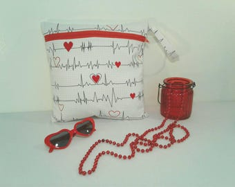 Free Shipping-Heartbeat EKG Medical Wet Bag/ RN/Nurse/Healthcare/Diaper Clutch/Makeup Bag/Cosmetic Bag/Toiletries/Diaper Bag Organizer/Gift