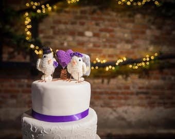 Bespoke bird bride & groom crochet wedding cake toppers