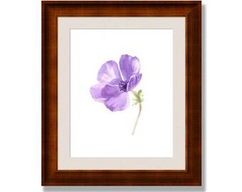 purple flower print, purple flower, Anemone watercolor, minimalist watercolor print, purple watercolor flower, purple watercolor print