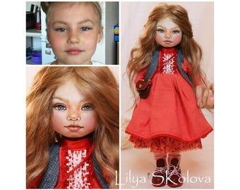 textile doll fabric doll rag doll cloth doll interior doll art doll handmade doll personalised doll selfy doll Portrait doll custom portrait