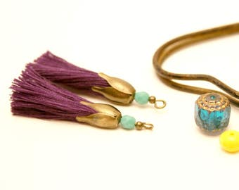 2 PomPoms, Violet, Turquoise, shell flower Pearl Bronze