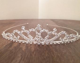 Wedding Tiara, Silver Tiara, Diamond Design Tiara, Princess Tiara, Bridal Tiara, Tiara, Silver Headpiece, Crystal Tiara, Wedding Accessories
