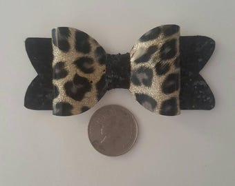 3.5 Inch Gold Leopard Print Bow