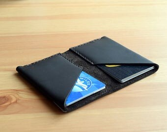 Leather Wallet Two-Fold Folio (Black with Brown)