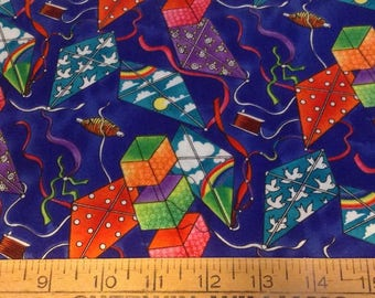 Flying kites cotton fabric by the yard