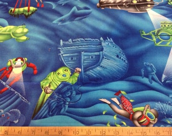 Deep sea diving theme cotton fabric by the yard