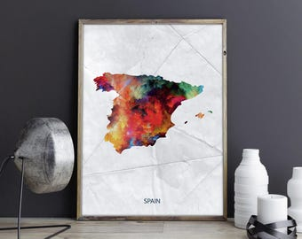 Spain Art Spain Wall Art Spain Wall Decor Spain Photo Spain Print Spain Poster Spain Map Country Map Watercolor Map Country Map Print