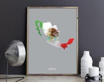 Mexico Art Mexico Wall Art Mexico Wall Decor Mexico Photo Mexico Print Mexico Poster Mexico Map Country Map Watercolor Map Country Map Print