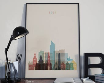 Oslo Art Oslo Watercolor Oslo Wall Art Oslo Multicolor Oslo Print Oslo Wall Decor Oslo Poster Oslo Home Decor Oslo Photo Oslo Skyline Norway
