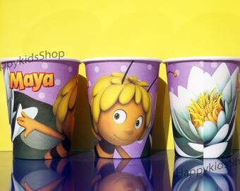 8psc Cups Maya the bee Children's Holiday Party Table Treats Supplies Favors Birthday tableware  glass