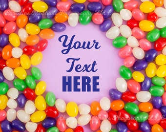 Jelly Bean graphic on purple background