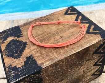 Coral Basic Stackable Bracelet, Wax String Bracelet, Friendship Bracelet, Waterproof Bracelet