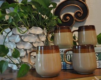 Vintage Set of 4 Drip Ware Mugs, Brown Stoneware Mugs made in Taiwan