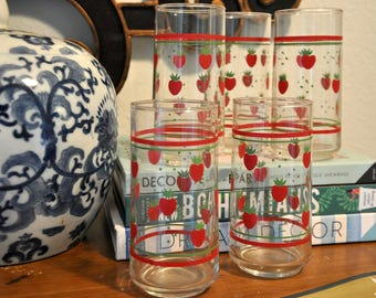 Vintage Anchor Hocking Strawberry Tumblers, Set of 5 Glasses
