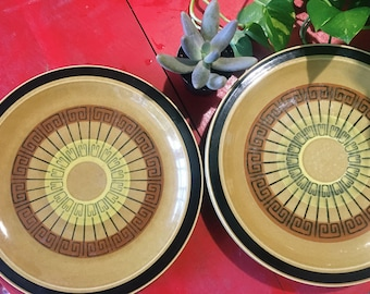"""Set of 5 Vintage Genuine IMC Stoneware """"Inca"""" Plates, Hand Painted Green Diningware, Made in Japan"""