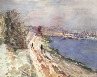 River in Winter - original watercolor painting