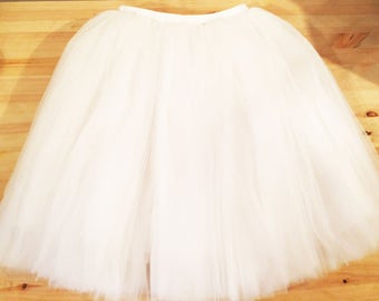 White Tulle Skirt, Adult Tulle Skirt, Wedding Tulle Skirt, Woman Tulle Skirt, Bridal