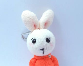 Little Orange Tea (Handmade mini sock bunny)