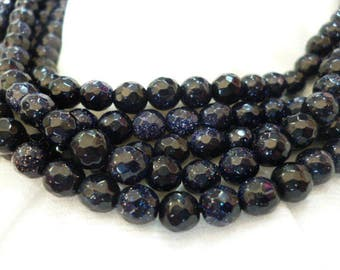 Natural FACETED ROUND Sandstone Beads /Blue /Minerals/ Strand