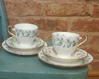 Pretty vintage bluebell tea for two set  (trios)