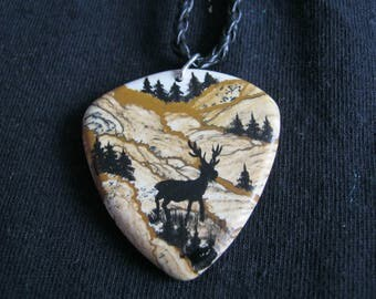 Animal print picture jasper pendants