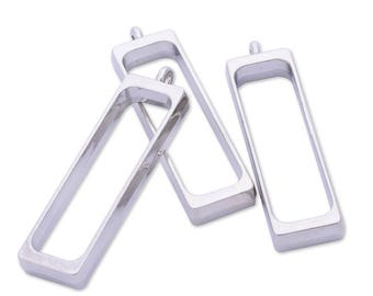 10 pcs Pendant setting Silver Empty Frame Rectangle