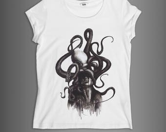 The PIEUVRE//DIMFC////Woman t-shirt 100% cotton/White and black//illustration ink/watercolor//Octopus//press