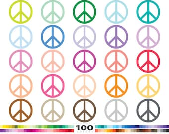 Peace clipart 100 rainbow colors peace symbol hippie vector svg cut file eps png illustration planner stickers clip art set