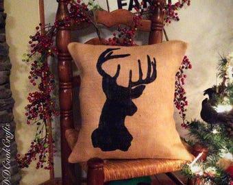 Deer Pillow, Buck Pillow, Burlap Pillow Cover, Burlap Pillow, Doe Pillow