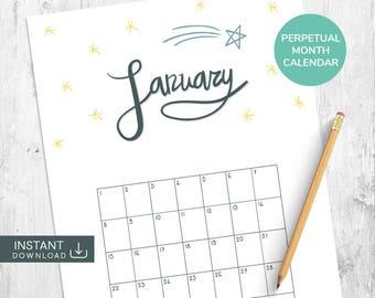 January Printable Calendar, Perpetual Calendar, Month Wall Calendar, Single Month Calendar, Hand Drawn Calendar, Hand Lettered Calendar