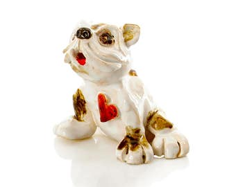 Ceramic Bulldog | Red Heart | Dog Lovers | Quirky Gift | Hand Made Quirky Ornament