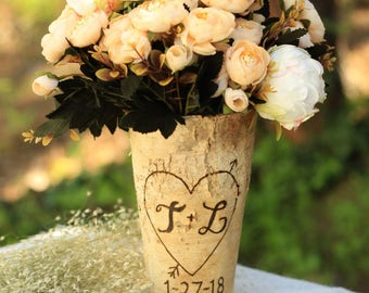 Personalized Birch Vase by Steven and Rae Designs - Home Decor Rustic Chic (Item Number SAR1704101)