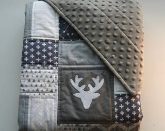 Woodland deer baby quilt with minky backing, and hand sewn deer appliqués - woodland theme - Gray - White - Modern - Homemade