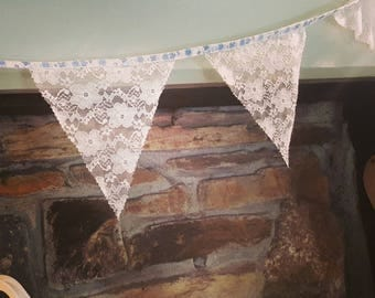 Lace bunting with floral tape