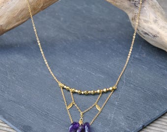 Long necklace in brass and Amethyst