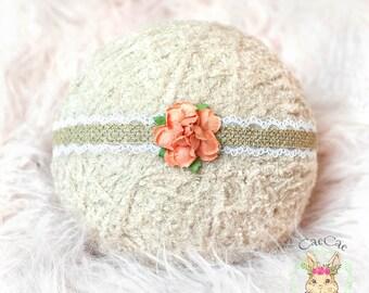 Newborn Headband, Baby Headband, Photo prop, Flower Headband, Floral Baby Headband, Newborn Photography Prop, Tie-back Headband, Flower girl