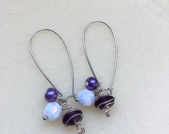 Purple and white loop earrings