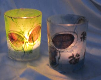Decoupaged candle lights