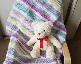 Handmade pastel stripe crochet baby blanket