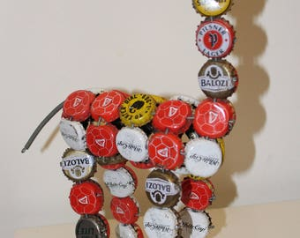 African recycled Bottle Cap and Wire Giraffe figurine