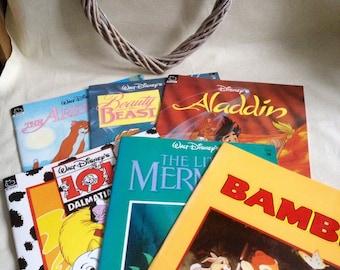 Vintage bundle of 6 Childrens Books Walt Disney - Bambi - Beauty and the beast - mermaid - dalmations -aristocats - aladdin