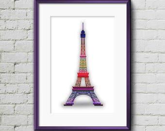 Eiffel Tower I - Digital Art, Print Art, Wall Art, Print Art, Minimalist Art, Colourful Art, Pastel Art